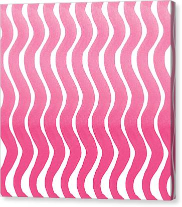 Pink Waves- Abstract Watercolor Pattern Canvas Print by Linda Woods