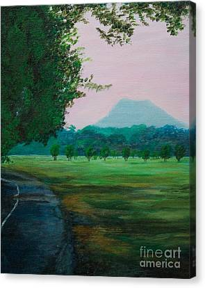 Pinnacle Mountain At Sunset From Two Rivers Park Canvas Print by Amber Woodrum