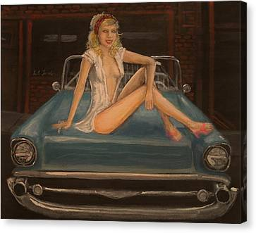 Car Culture Classic Pinup Canvas Print by Larry Lamb
