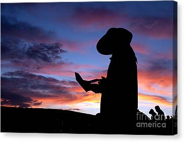 Pioneer Silhouette Reading Letter Canvas Print by Cindy Singleton