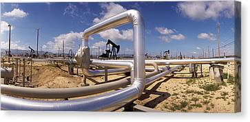 Pipelines On A Landscape, Taft, Kern Canvas Print by Panoramic Images