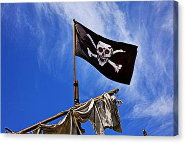 Pirate Flag On Ships Mast Canvas Print by Garry Gay
