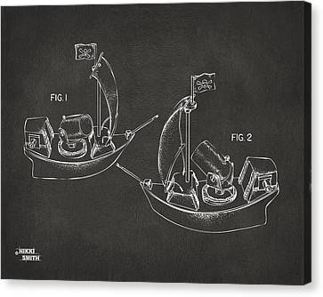 Pirate Ship Patent Artwork - Gray Canvas Print by Nikki Marie Smith