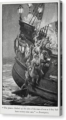 Pirates Boarding A Ship Canvas Print by British Library