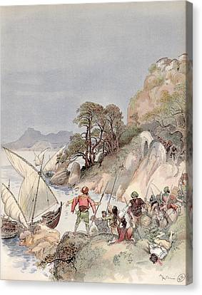 Pirates From The Barbary Coast Capturin Gslaves On The Mediterranean Coast Canvas Print by Albert Robida