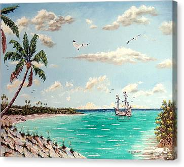 Pirates On Pavilion Key Canvas Print by Riley Geddings