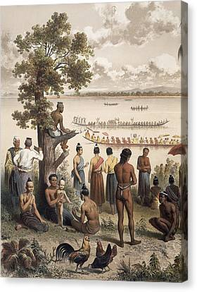Pirogue Races On The Bassac River Canvas Print by Louis Delaporte
