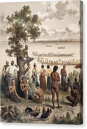 Pirogue Races On The Bassac River Canvas Print by Louis Delaporte
