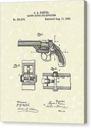 Pistol Device 1896 Patent Art Canvas Print by Prior Art Design