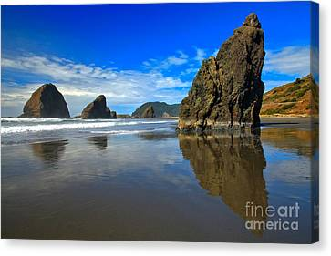 Pistol River Sea Stacks Canvas Print by Adam Jewell