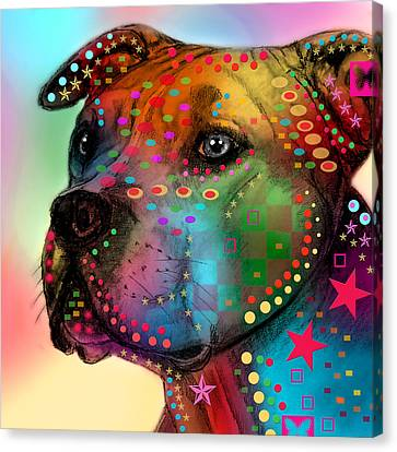 Pit Bull Canvas Print by Mark Ashkenazi