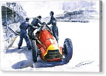 Pit Stop Alfa Romeo158 British Gp 1950 J M Fangio Canvas Print by Yuriy  Shevchuk