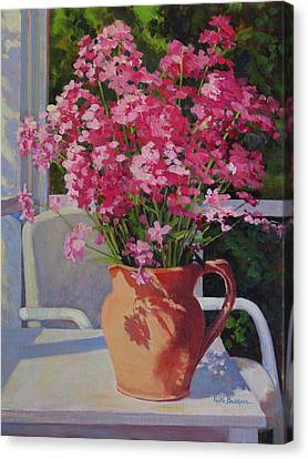 Pitcher With Phlox Canvas Print by Keith Burgess