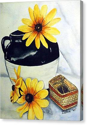 Pitcher With Yellow Flowers Canvas Print by Zelma Hensel