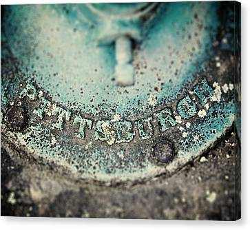 Pittsburgh In Teal Relief On A Vintage Water Pump Canvas Print by Lisa Russo