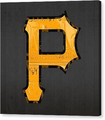 Pittsburgh Pirates Baseball Vintage Logo License Plate Art Canvas Print by Design Turnpike