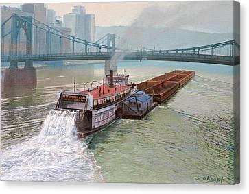Pittsburgh River Boat-1948 Canvas Print by Paul Krapf