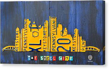 Pittsburgh Skyline License Plate Art Canvas Print by Design Turnpike