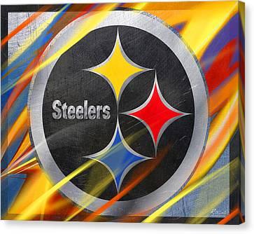 Pittsburgh Steelers Football Canvas Print by Tony Rubino