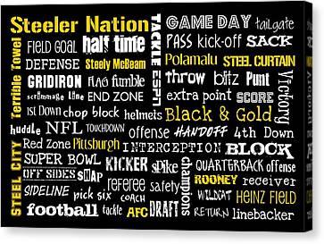 Pittsburgh Steelers Canvas Print by Jaime Friedman