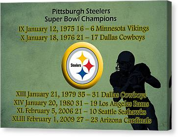 Pittsburgh Steelers Super Bowl Wins Canvas Print by Movie Poster Prints
