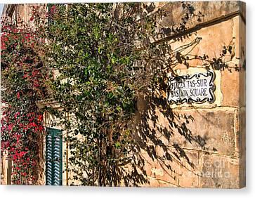 Pjazza In Mdina Canvas Print by Alexandra Jordankova