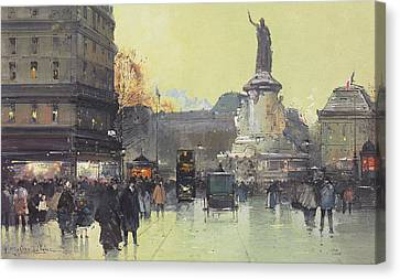 Place De La Republique Canvas Print by Eugene Galien-Laloue