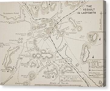 Plan Of The Assault On Ladysmith Canvas Print by English School