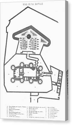 Plan Of The Bastille Canvas Print by Granger