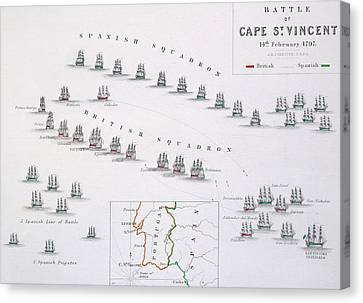 Plan Of The Battle Of Cape St. Vincent Canvas Print by Alexander Keith Johnston