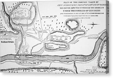 Plan Of The Battle Of Saratoga October 1777 Canvas Print by American School