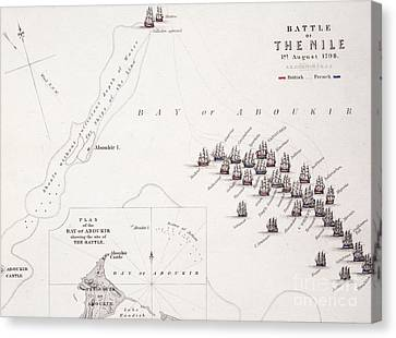 Plan Of The Battle Of The Nile Canvas Print by Alexander Keith Johnston