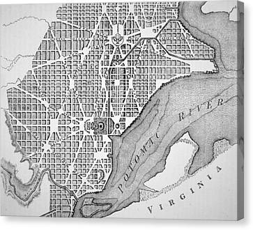 Plan Of The City Of Washington As Originally Laid Out In 1793 Canvas Print by American School
