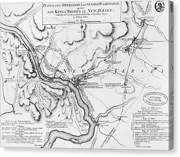 Plan Of The Operations Of General Washington Against The Kings Troops In New Jersey Canvas Print by William Faden