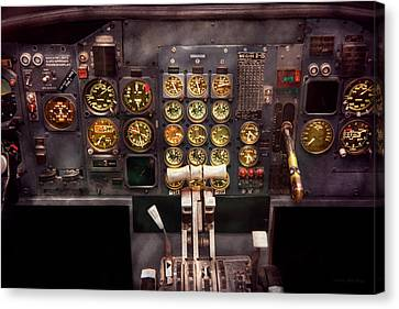 Plane - Cockpit - Boeing 727 - The Controls Are Set Canvas Print by Mike Savad