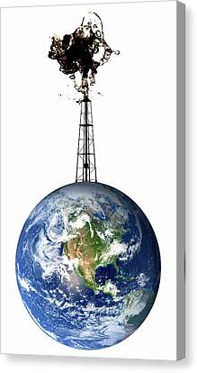 Planet Earth With An Oil Well Canvas Print by Victor De Schwanberg