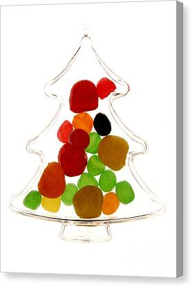 Plastic Christmas Tree Containing Sweet Canvas Print by Bernard Jaubert