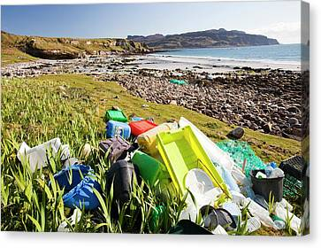 Plastic Rubbish At The Singing Sands Canvas Print by Ashley Cooper
