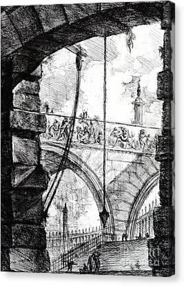Plate 4 From The Carceri Series Canvas Print by Giovanni Battista Piranesi