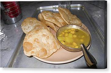Plate Of Indian Fried Bread (nan Canvas Print by Ellen Clark
