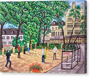 Playing Boules At Betty's Cafe- Harrogate Canvas Print by Ronald Haber