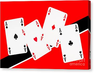 Playing Cards Aces Canvas Print by Natalie Kinnear