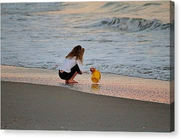 Playing In The Ocean Canvas Print by Cynthia Guinn