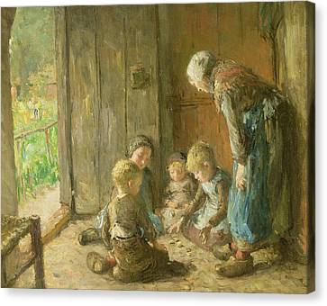Playing Jacks On The Doorstep Canvas Print by Bernardus Johannes Blommers