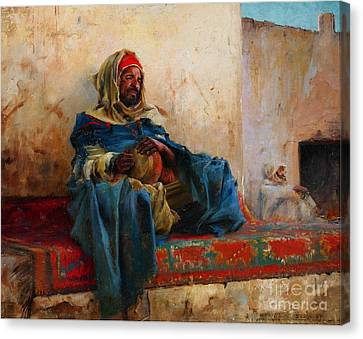 Playing The Derbakeh Biskra Canvas Print by Celestial Images