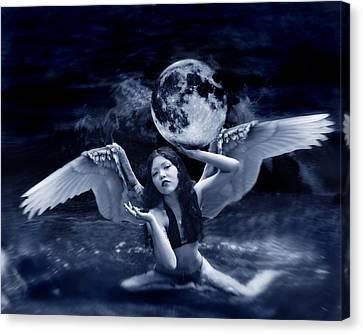 playing with the Moon Canvas Print by Mayumi  Yoshimaru