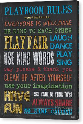 Playroom Rules Canvas Print by Debbie DeWitt
