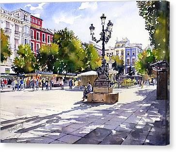 Plaza Bib Rambla Granada Canvas Print by Margaret Merry
