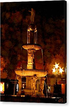 Plaza De Bib-rambla Fountain In Granada Spain Canvas Print by Bruce Nutting
