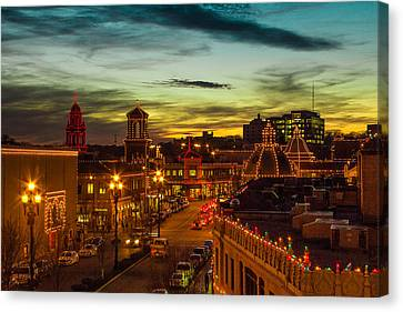 Plaza Lights At Sunset Canvas Print by Steven Bateson